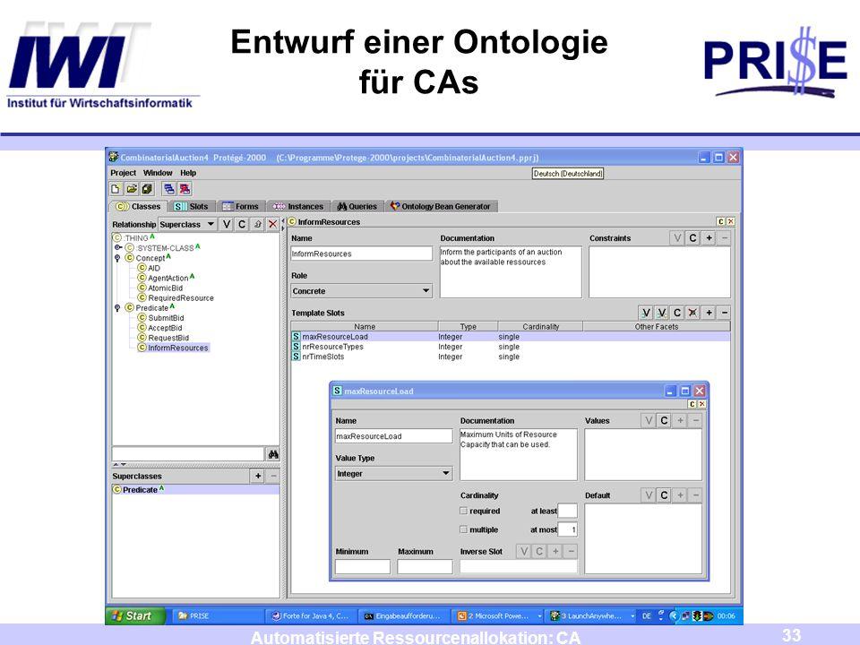 Entwurf einer Ontologie für CAs