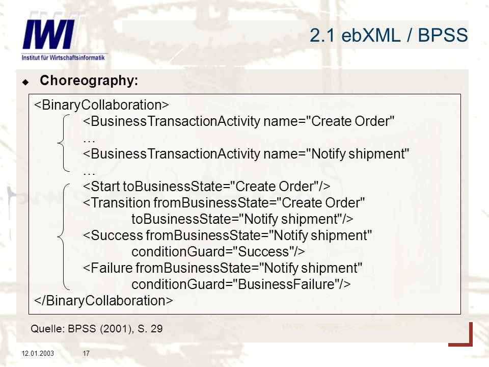 2.1 ebXML / BPSS Choreography: <BinaryCollaboration>