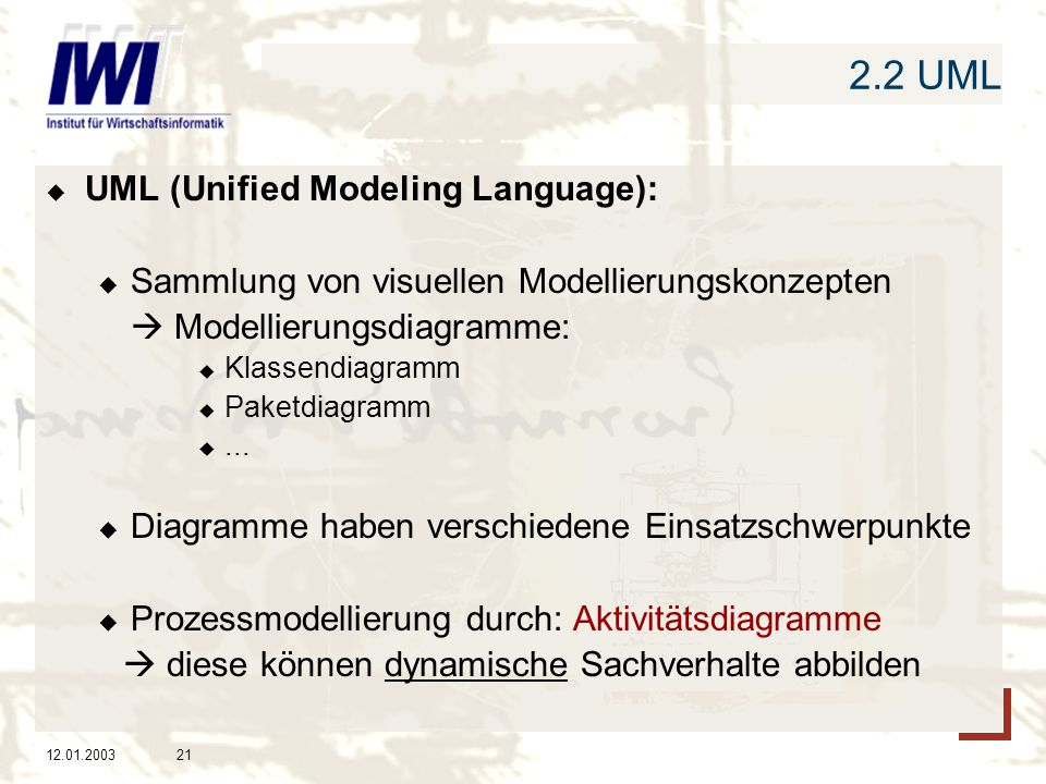 2.2 UML UML (Unified Modeling Language):