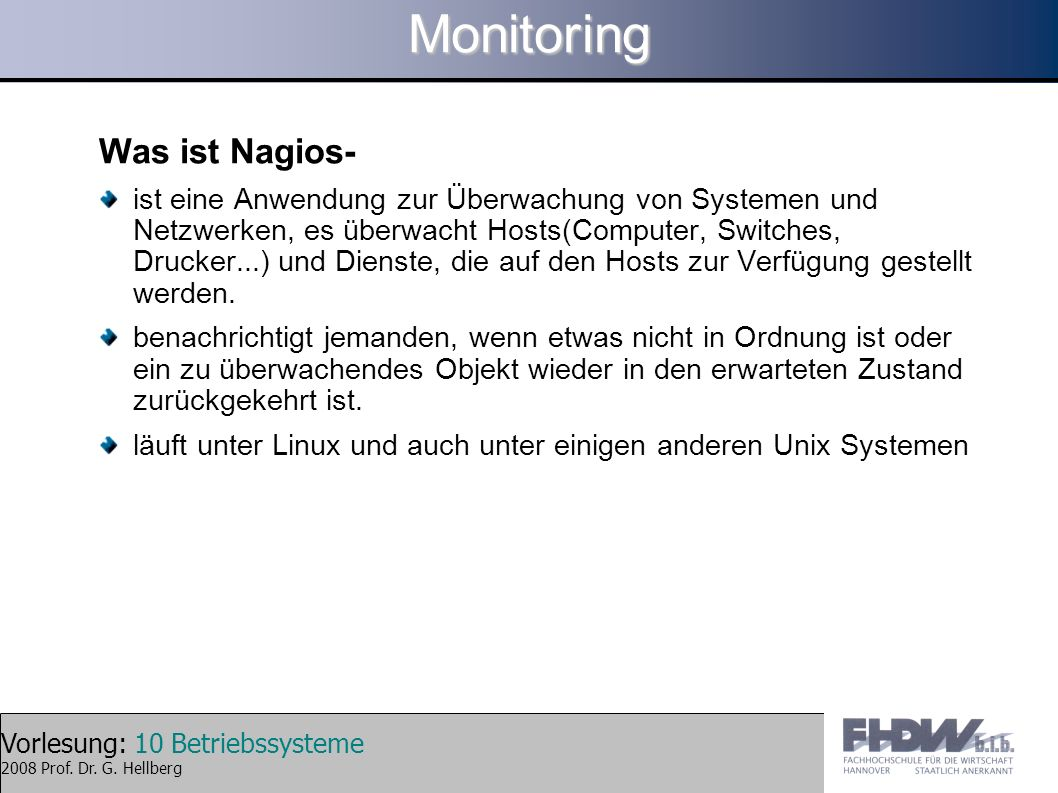 Monitoring Was ist Nagios-