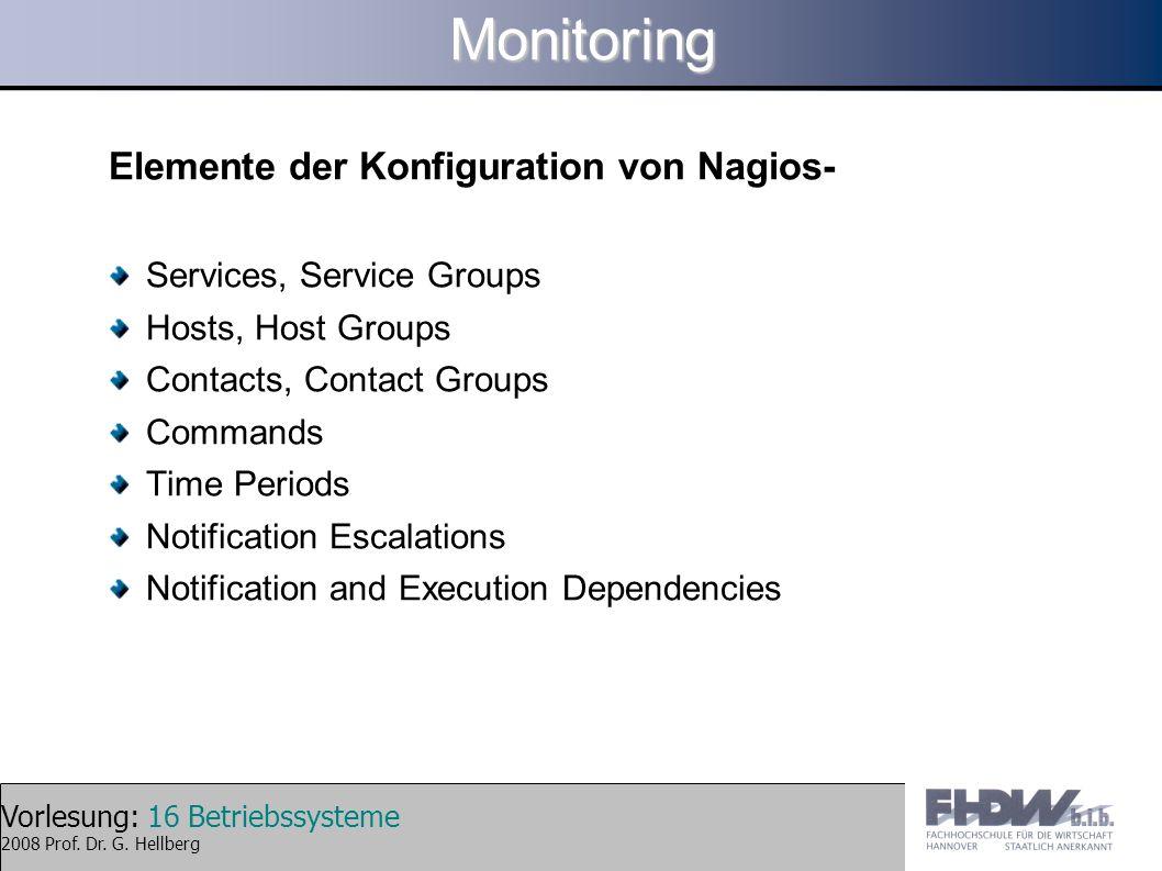 Monitoring Elemente der Konfiguration von Nagios-