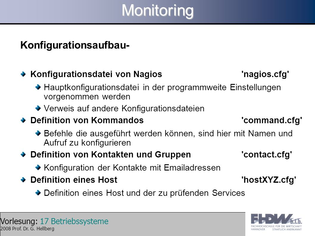 Monitoring Konfigurationsaufbau-