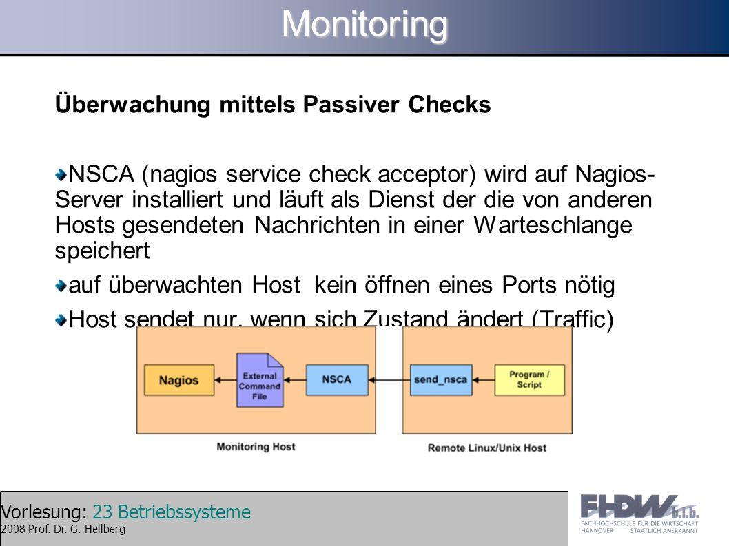 Monitoring Überwachung mittels Passiver Checks