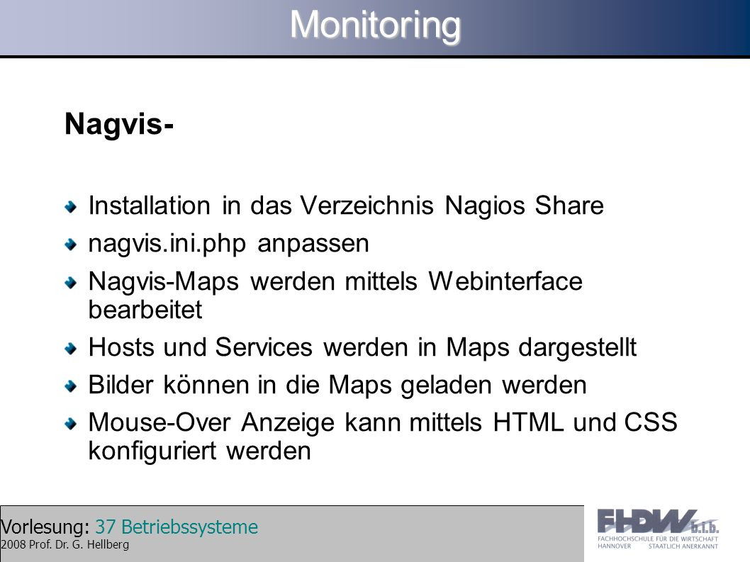 Monitoring Nagvis- Installation in das Verzeichnis Nagios Share