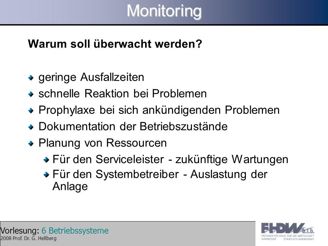 Monitoring Warum soll überwacht werden geringe Ausfallzeiten