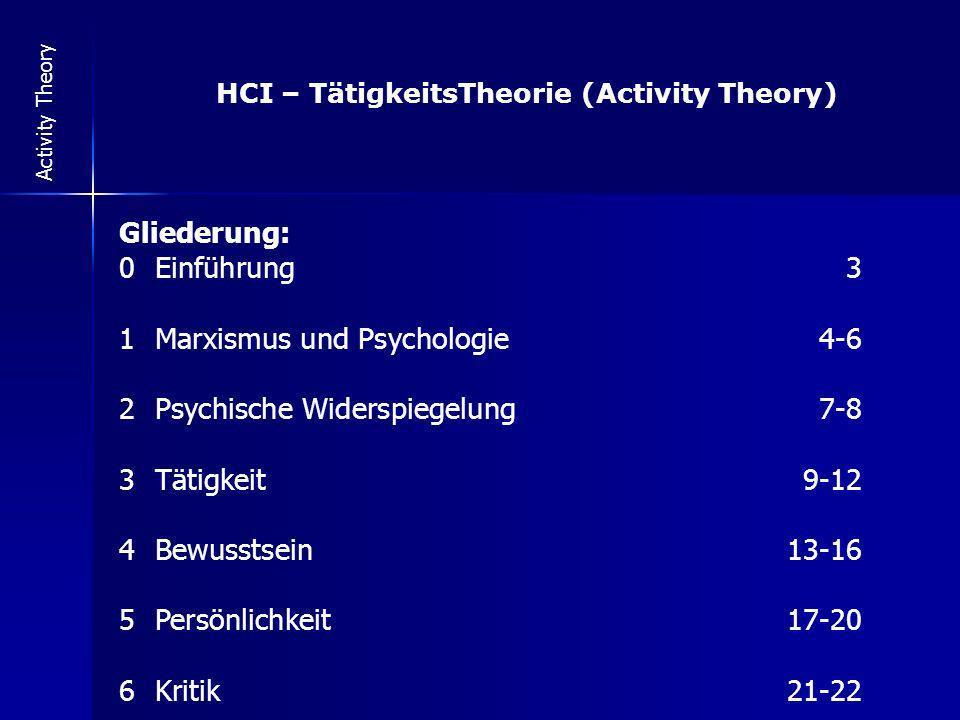 HCI – TätigkeitsTheorie (Activity Theory)