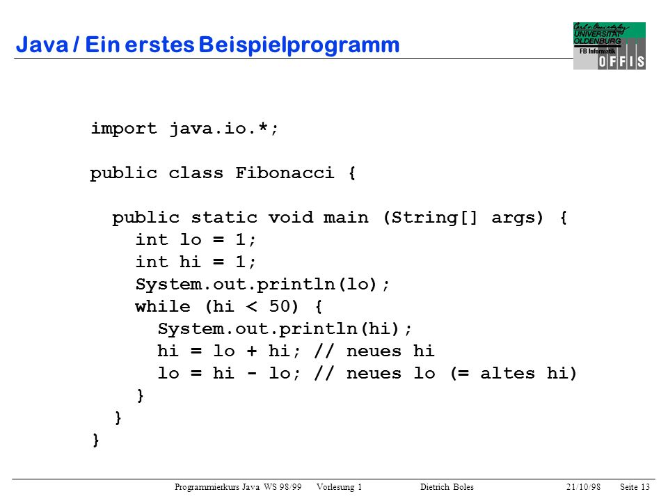 Java / Ein erstes Beispielprogramm
