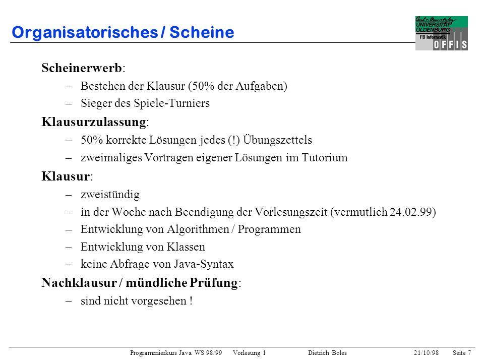 Organisatorisches / Scheine