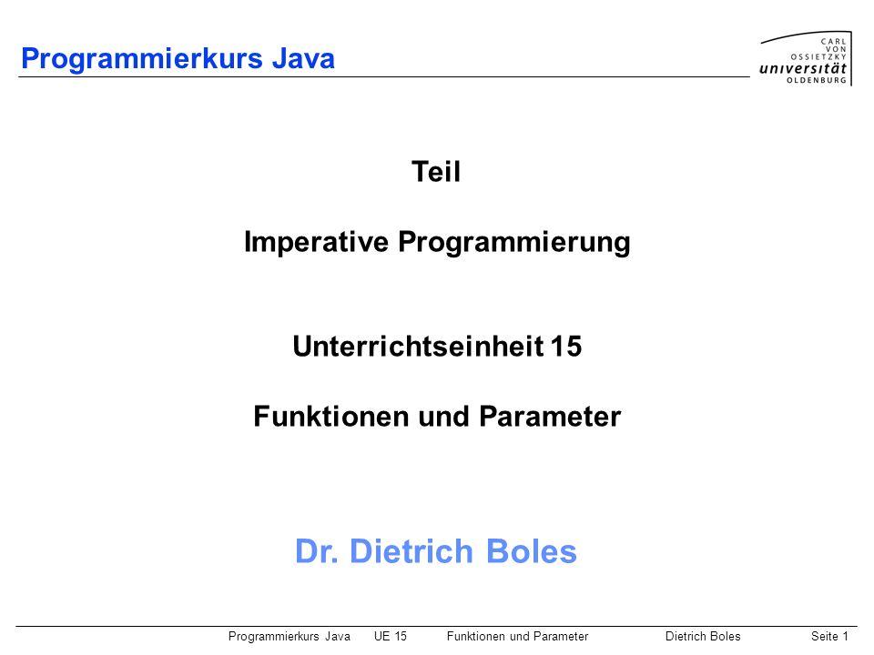 Imperative Programmierung Funktionen und Parameter