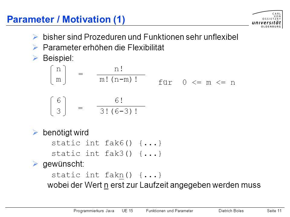 Parameter / Motivation (1)