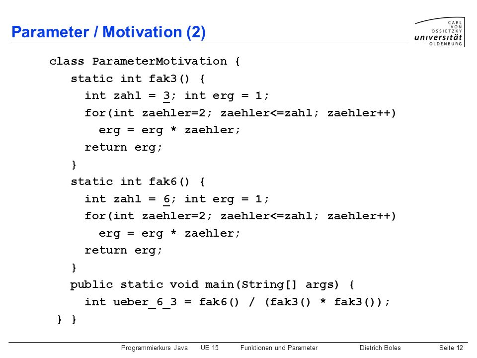Parameter / Motivation (2)