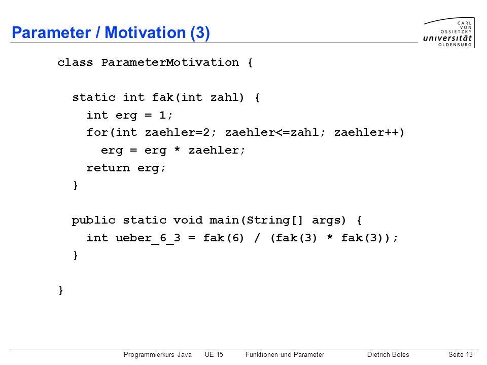 Parameter / Motivation (3)