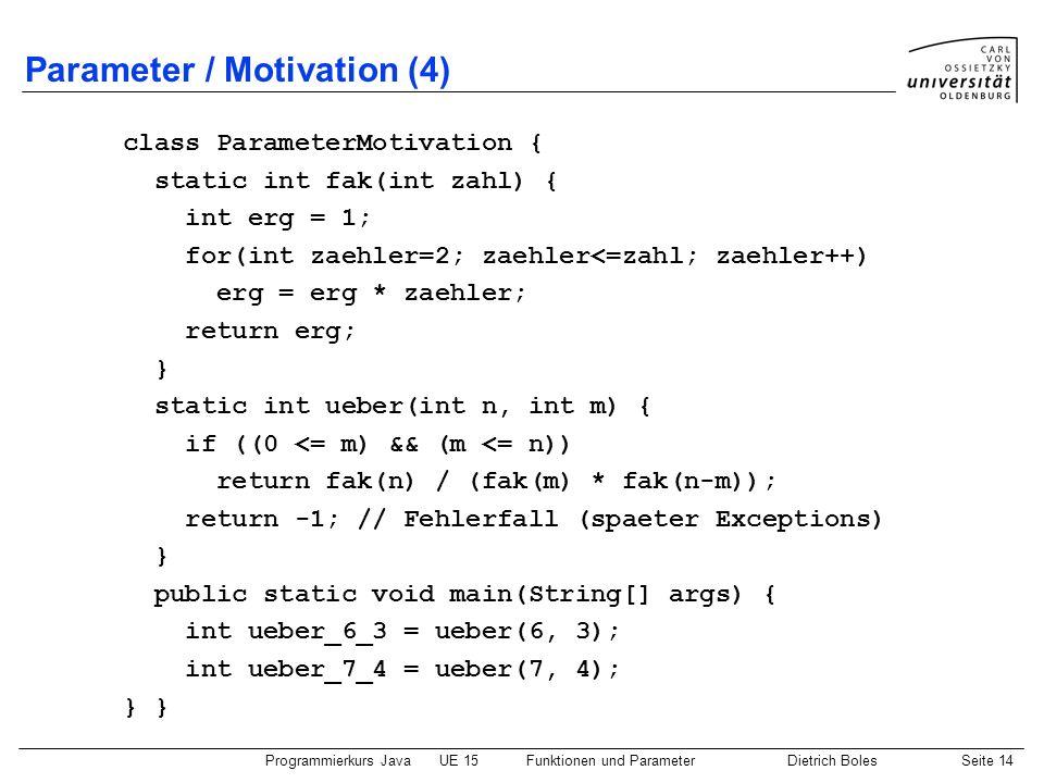 Parameter / Motivation (4)