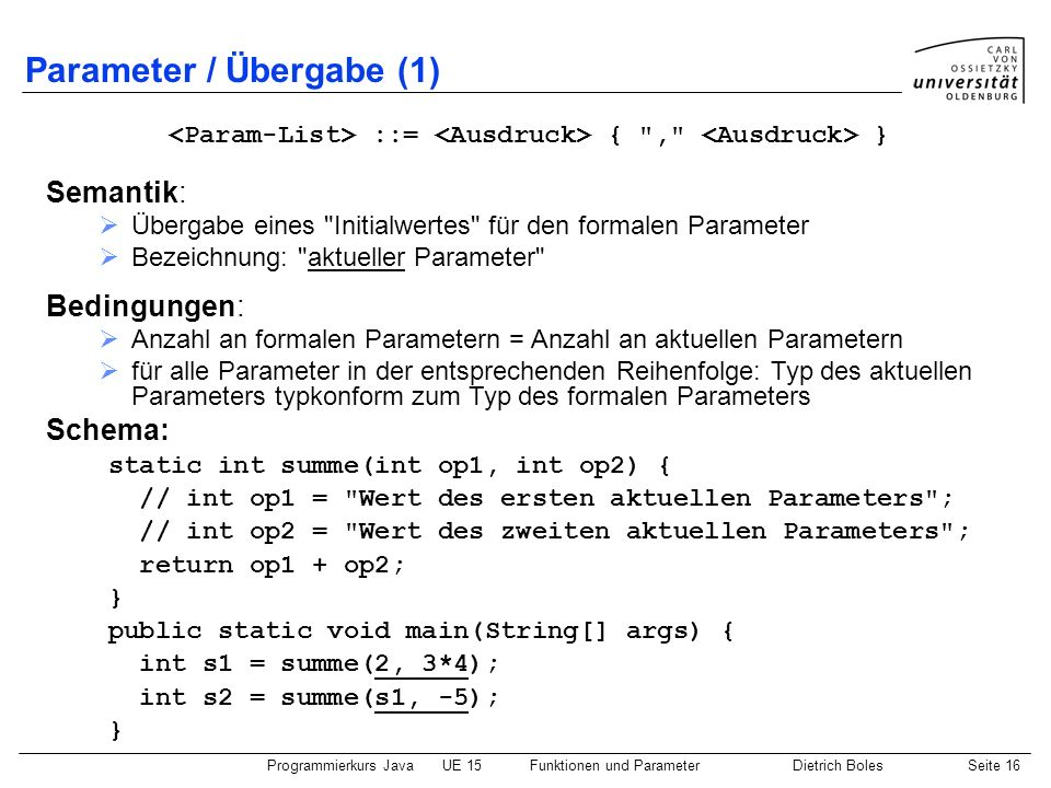 Parameter / Übergabe (1)