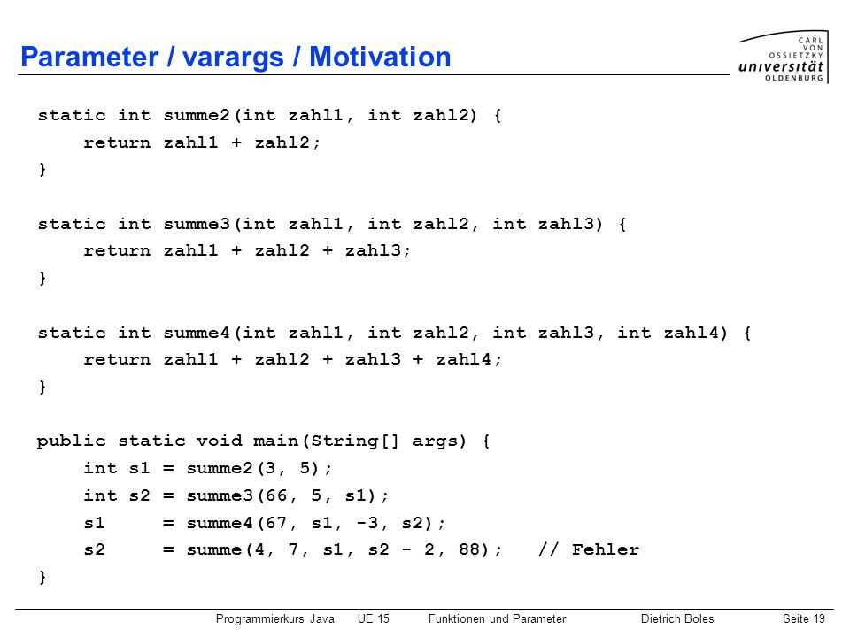 Parameter / varargs / Motivation