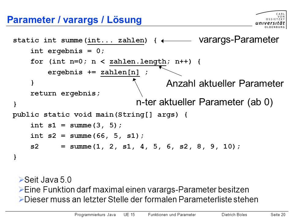 Parameter / varargs / Lösung