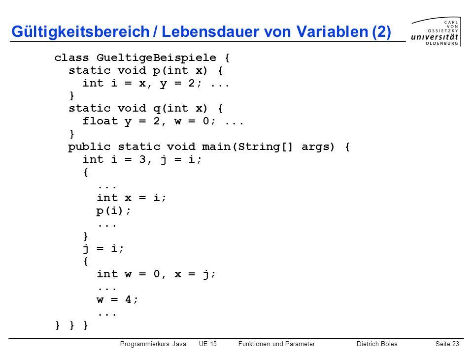 Gültigkeitsbereich / Lebensdauer von Variablen (2)