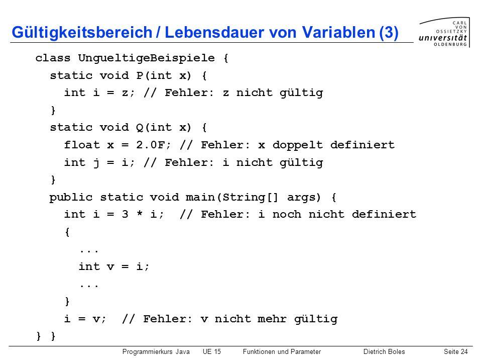 Gültigkeitsbereich / Lebensdauer von Variablen (3)