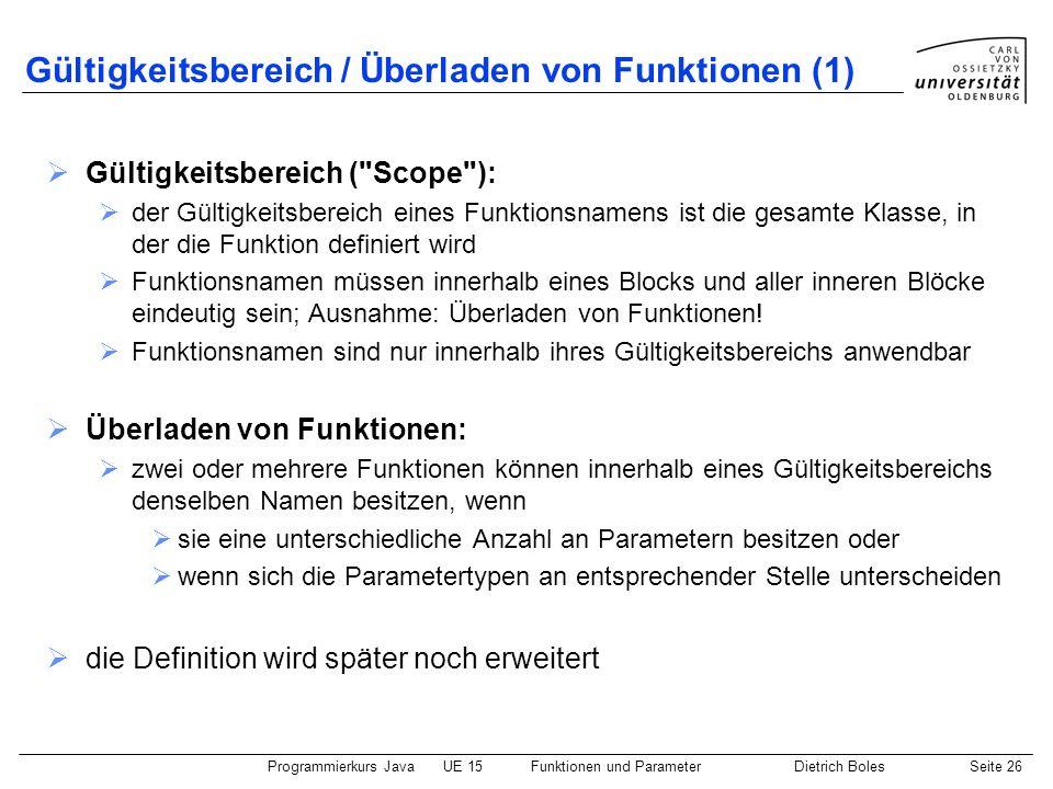 Gültigkeitsbereich / Überladen von Funktionen (1)
