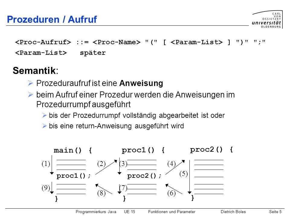 Prozeduren / Aufruf Semantik: Prozeduraufruf ist eine Anweisung