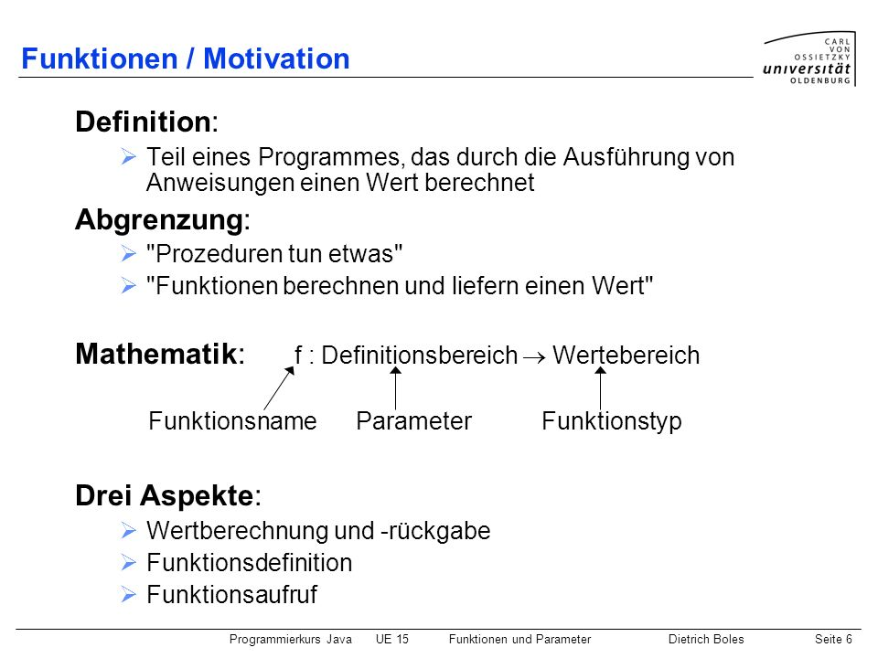 Funktionen / Motivation
