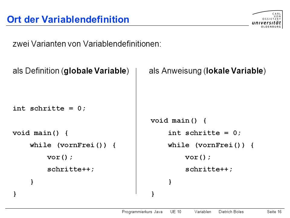 Ort der Variablendefinition