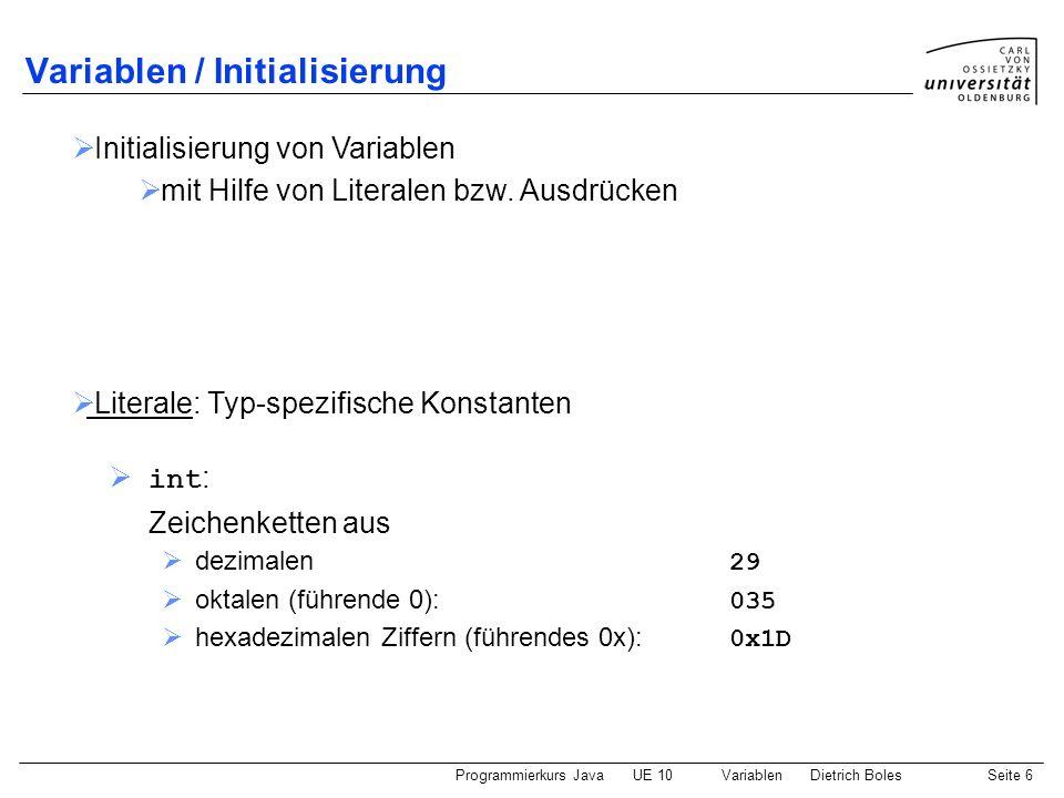 Variablen / Initialisierung