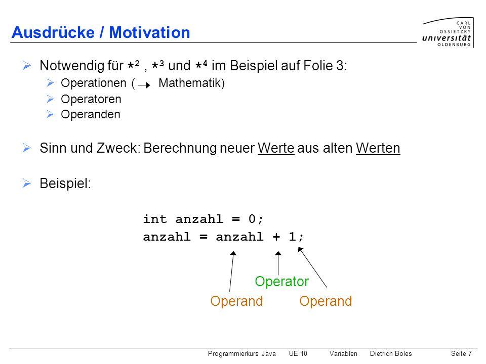 Ausdrücke / Motivation