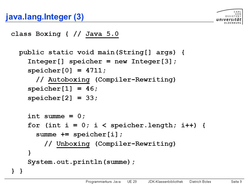 java.lang.Integer (3) class Boxing { // Java 5.0