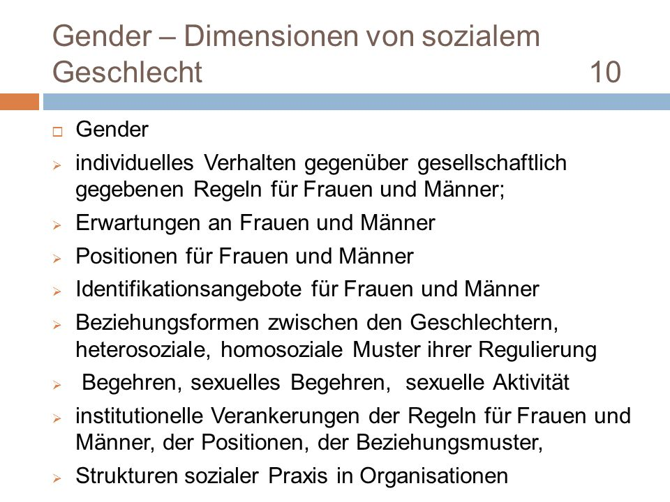 Gender – Dimensionen von sozialem Geschlecht 10