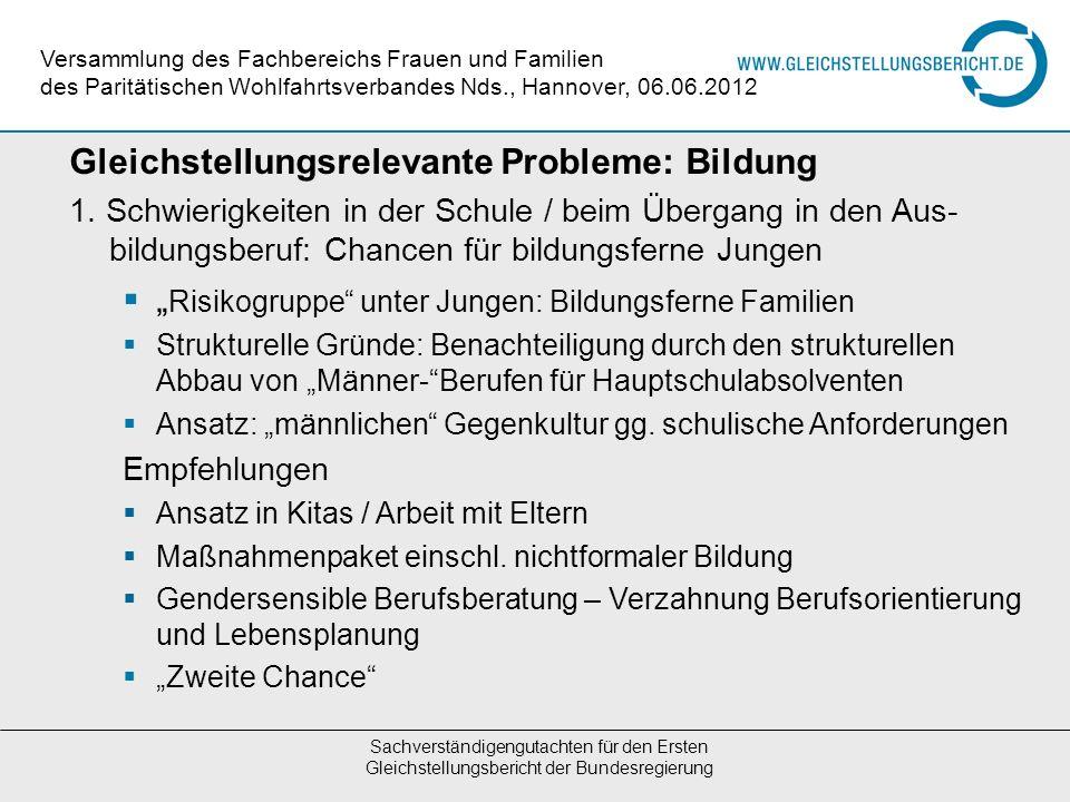 Gleichstellungsrelevante Probleme: Bildung