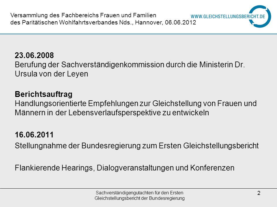 Stellungnahme der Bundesregierung zum Ersten Gleichstellungsbericht