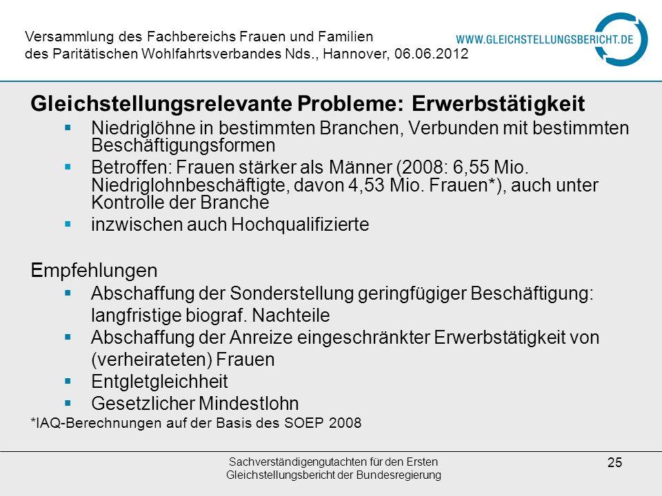 Gleichstellungsrelevante Probleme: Erwerbstätigkeit