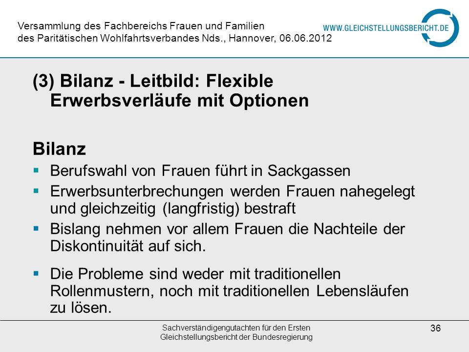 (3) Bilanz - Leitbild: Flexible Erwerbsverläufe mit Optionen