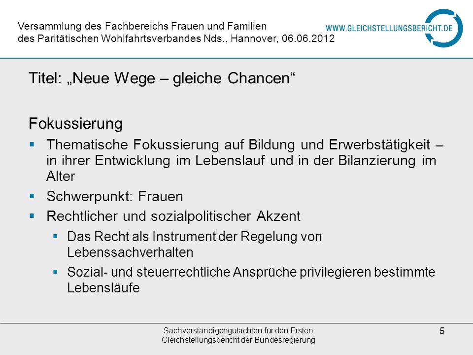 """Titel: """"Neue Wege – gleiche Chancen Fokussierung"""