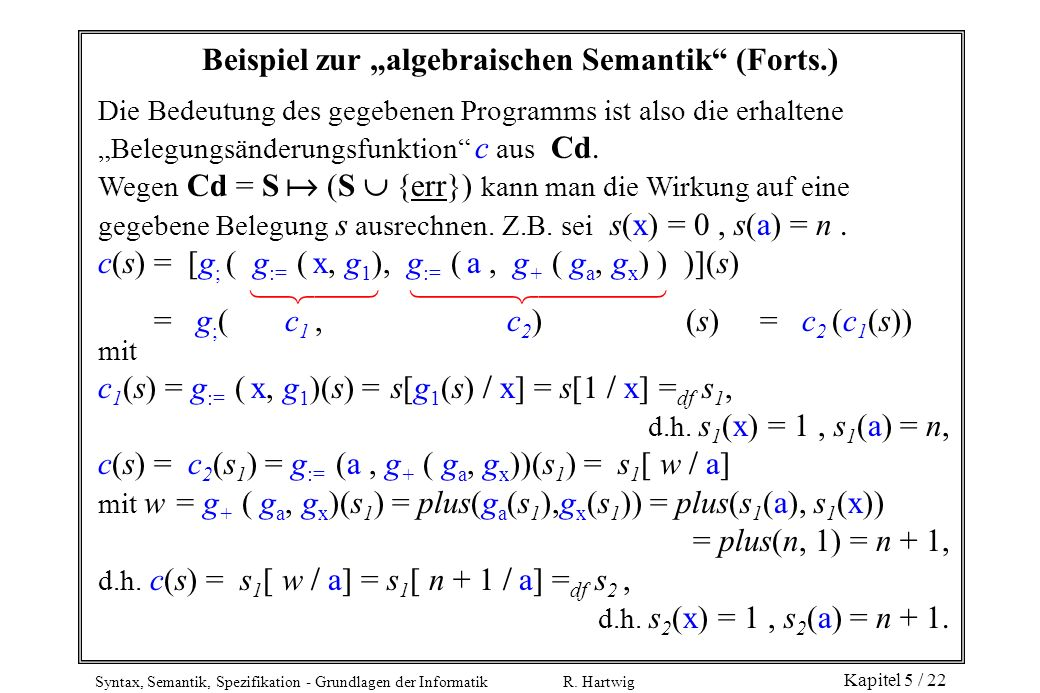 """Beispiel zur """"algebraischen Semantik (Forts.)"""