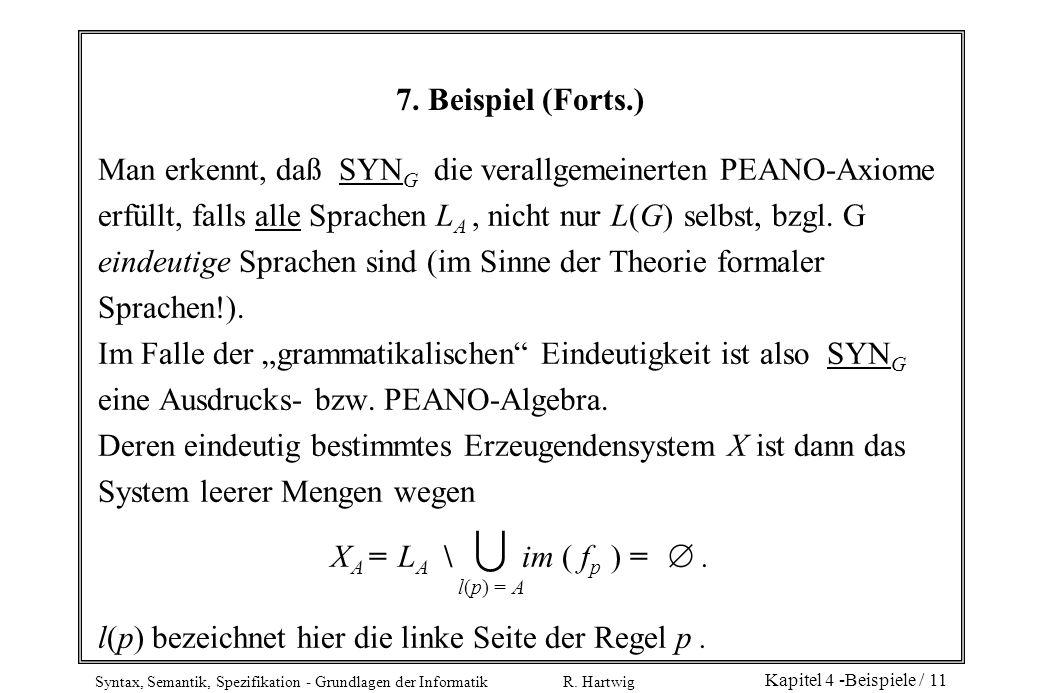 Man erkennt, daß SYNG die verallgemeinerten PEANO-Axiome