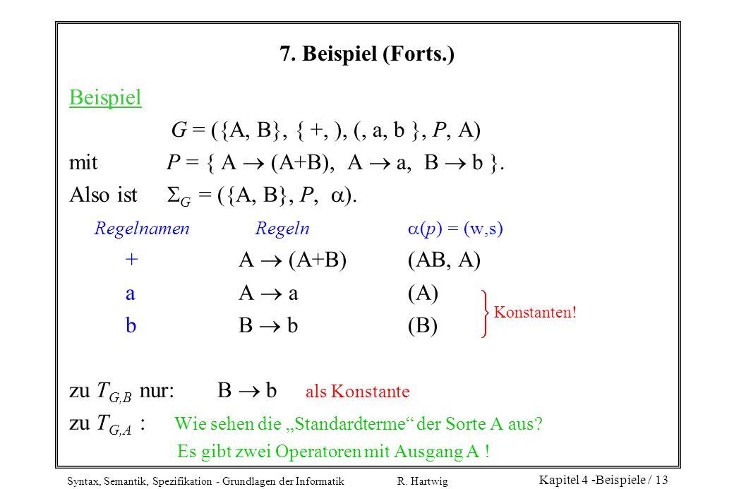 mit P = { A  (A+B), A  a, B  b }. Also ist G = ({A, B}, P, ).