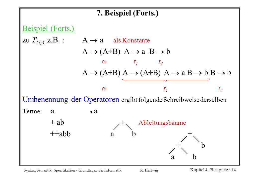 zu TG,A z.B. : A  a als Konstante A  (A+B) A  a B  b  t1 t2