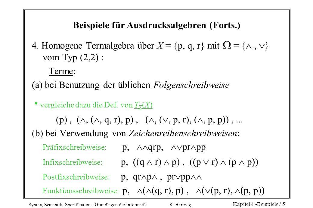 Beispiele für Ausdrucksalgebren (Forts.)