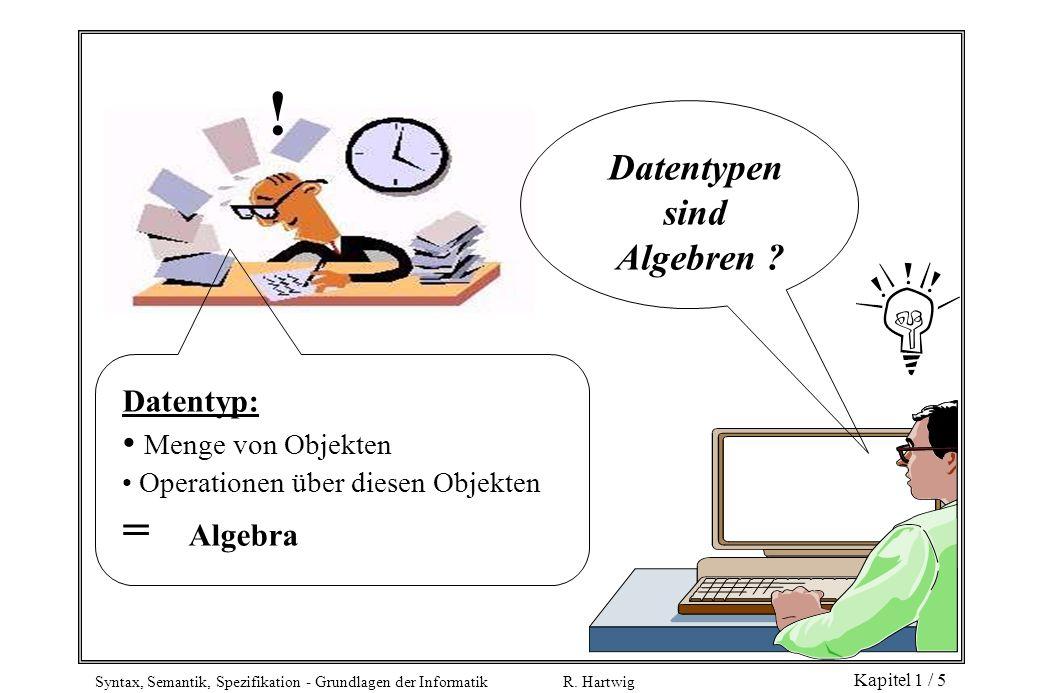 ! = Algebra Datentypen sind Algebren Menge von Objekten Datentyp: