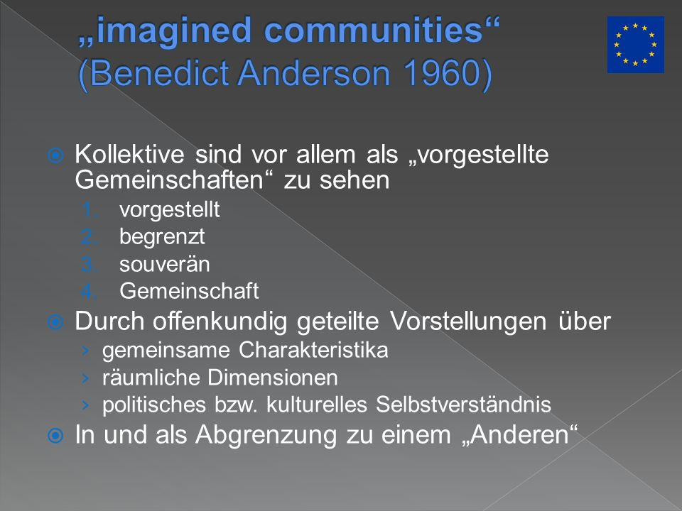 """imagined communities (Benedict Anderson 1960)"
