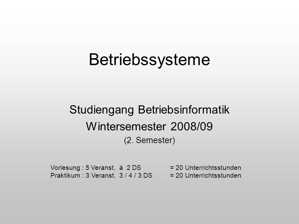 Studiengang Betriebsinformatik Wintersemester 2008/09 (2. Semester)