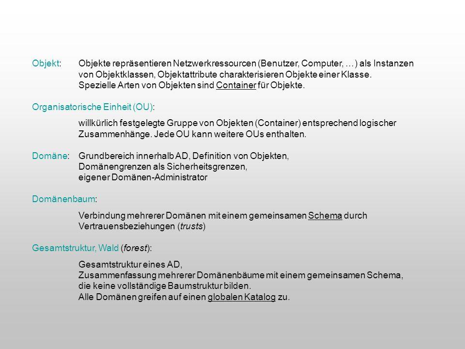 Objekt: Objekte repräsentieren Netzwerkressourcen (Benutzer, Computer, …) als Instanzen