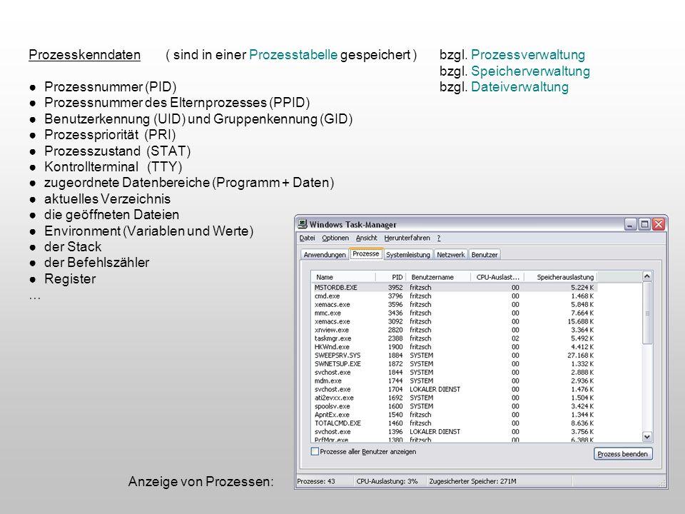 Prozesskenndaten. ( sind in einer Prozesstabelle gespeichert ). bzgl