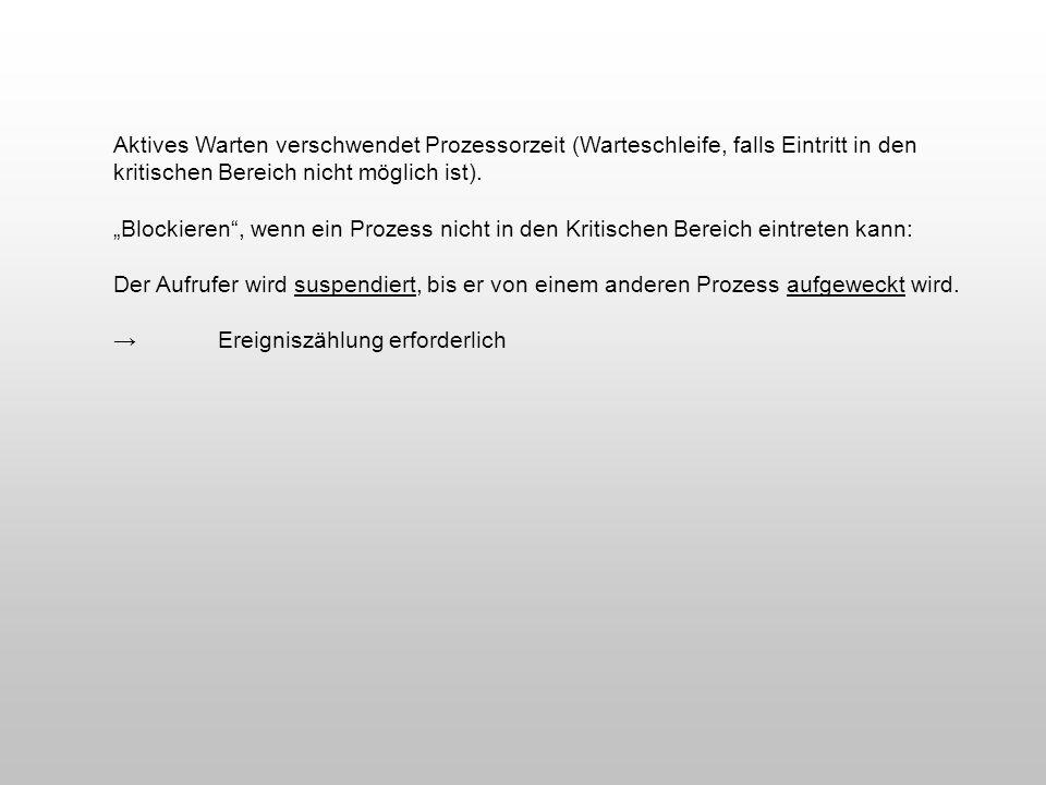 Aktives Warten verschwendet Prozessorzeit (Warteschleife, falls Eintritt in den