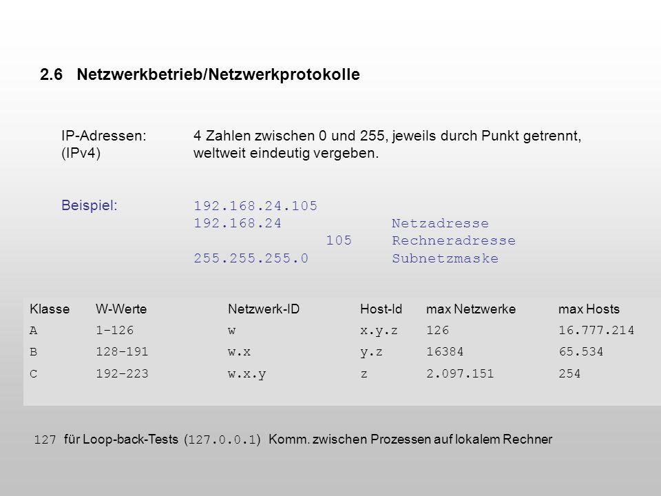 2.6 Netzwerkbetrieb/Netzwerkprotokolle