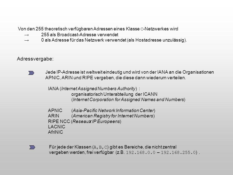 Von den 255 theoretisch verfügbaren Adressen eines Klasse C-Netzwerkes wird