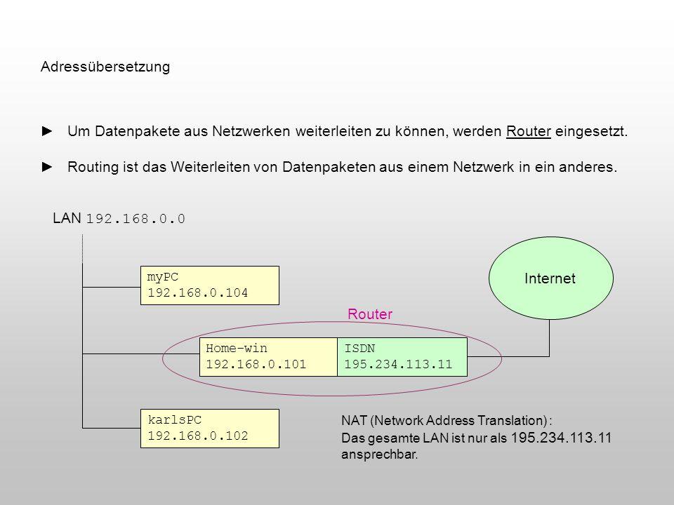 Adressübersetzung ► Um Datenpakete aus Netzwerken weiterleiten zu können, werden Router eingesetzt.