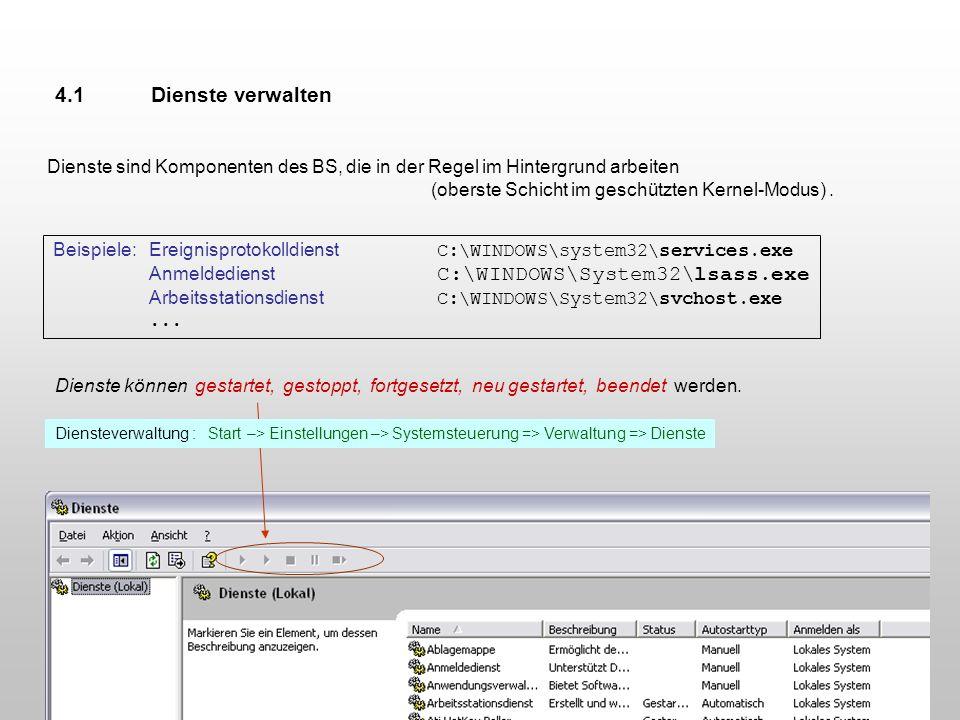 4.1 Dienste verwalten Dienste sind Komponenten des BS, die in der Regel im Hintergrund arbeiten. (oberste Schicht im geschützten Kernel-Modus) .